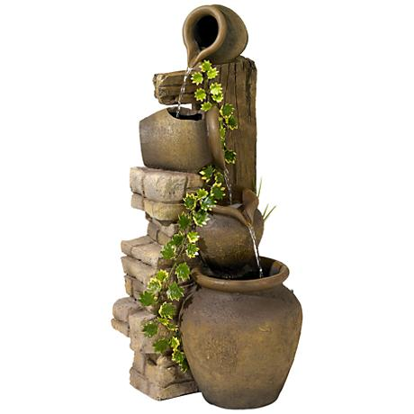 Three Rustic Jugs Cascading Fountain
