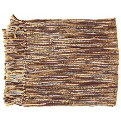 Surya Teegan Brown Gray and Ivory Throw Blanket