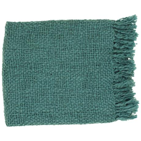 Surya Tobias Teal Throw Blanket