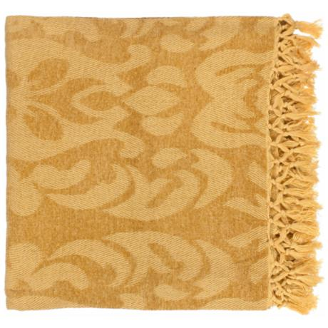 Surya Tristen Golden Throw Blanket