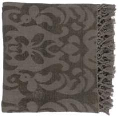 Surya Tristen Gray Plum Throw Blanket
