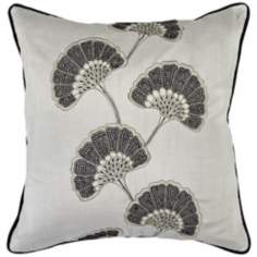 "Surya Gingko Gray 18"" Square Accent Pillow"