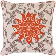 "Surya Orange Flower 18"" Square Accent Pillow"