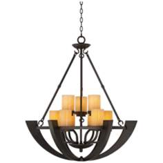 Sunset Onyx Stone 9-Light Entry Large Candle Chandelier
