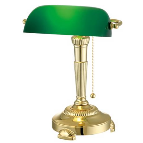Green Glass Shade Bankers Lamp