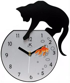 "Cat with Goldfish 14 1/4"" High Wall Clock (R6790)"