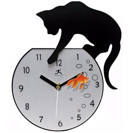 "Cat with Goldfish 14 1/4"" High Wall Clock"