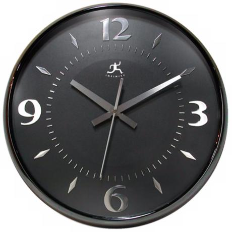 "Raven Black 15"" Wide Round Wall Clock"