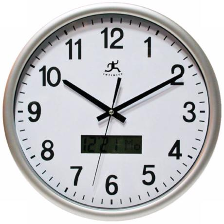 "Datekeeper Silver  13 1/2"" Wide Round Wall Clock"