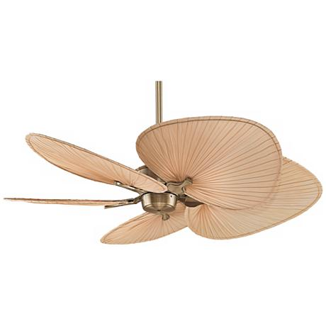 "52"" Fanimation Islander Brass Palm Leaf Ceiling Fan - # ..."