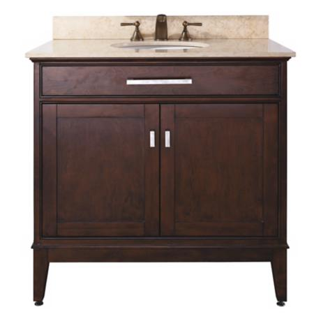 "Madison Light Espresso 36"" Wide Marble Top Sink Vanity"