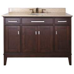 "Madison Light Espresso 49"" Wide Marble Top Sink Vanity"