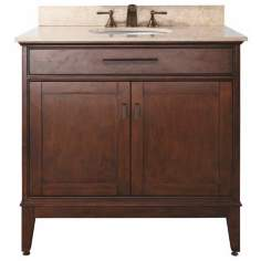 "Madison Tobacco 37"" Wide Marble Top Sink Vanity"