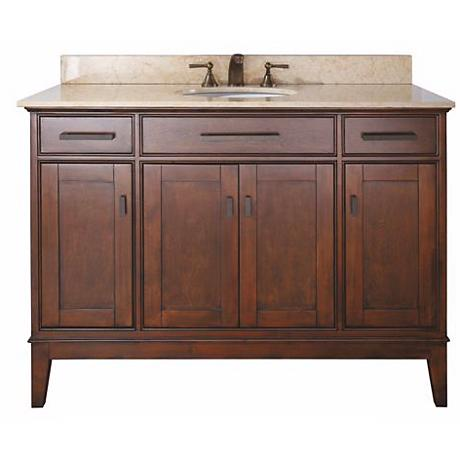 "Madison Tobacco 49"" Wide Marble Top Sink Vanity"