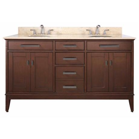 "Madison Tobacco 61"" Wide Marble Top Sink Vanity"