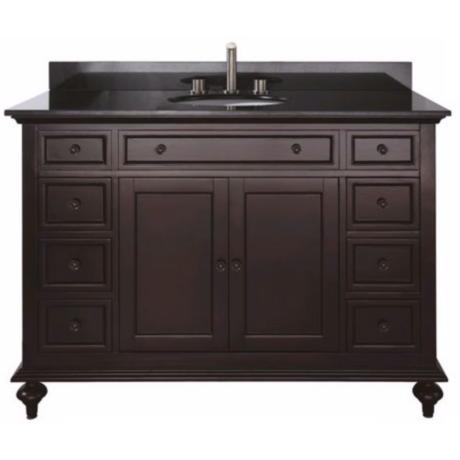 "Merlot Espresso 49"" Wide Granite Top Sink Vanity"