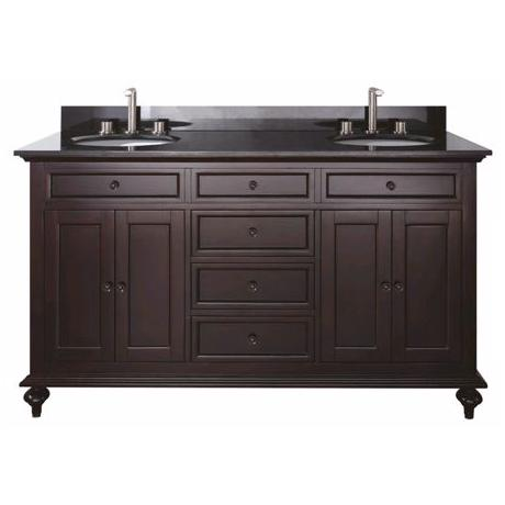 "Merlot Espresso 61"" Wide Granite Top Sink Vanity"