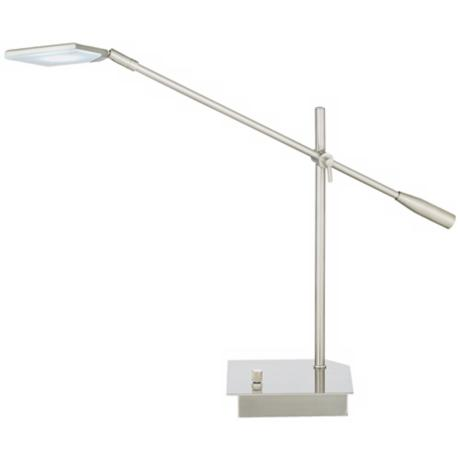 Brushed Steel Flat Head LED Balance Arm Desk Lamp