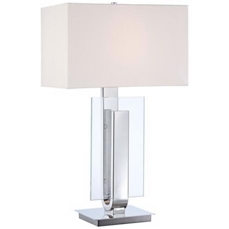 George Kovacs Polished Nickel and Glass Table Lamp