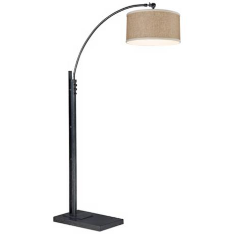 Quoizel Zen Bronze and Black Finish Arc Floor Lamp