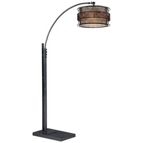Quoizel Mica Bronze and Black Finish Arc Floor Lamp