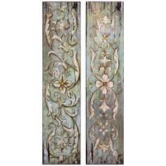 Uttermost Set of 2 Climbing Vines And Floral Wall Art