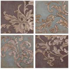 Uttermost Set of 4 Damask Relief Blocks Wall Art