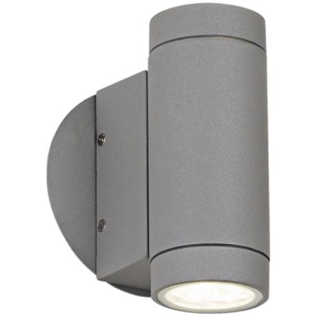 Matte Silver Outdoor LED Up and Down Wall Light