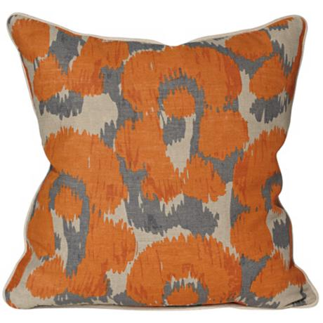 Leopard Print Ikat Orange Throw Pillow