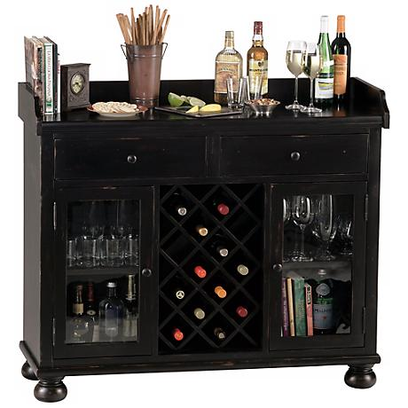 Howard Miller Cabernet Hills Worn Black Bar Cabinet