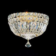 "Schonbek Petit Hand-Cut Crystal 10"" Wide Ceiling Light"