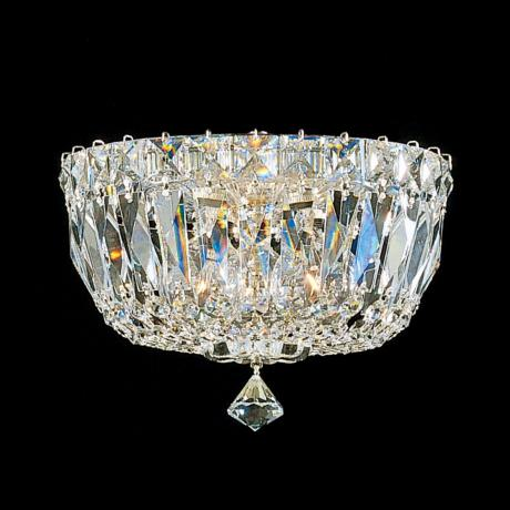 "Schonbek Petit Silver Hand-Cut Crystal 8"" Wide Ceiling Light"