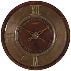 "1896 Mahogany With Brass 30 1/2"" Wide Round Wall Clock"