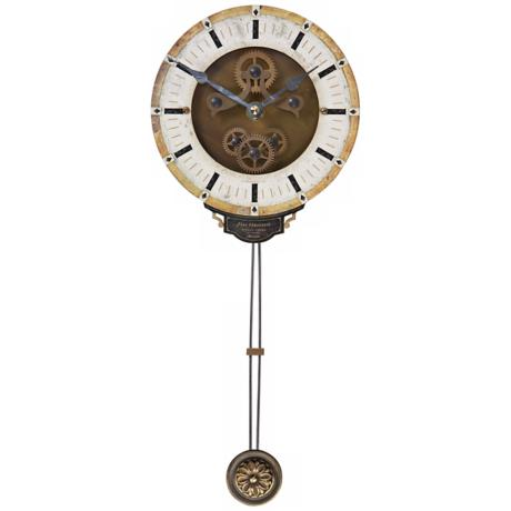 "Leonardo Mini Cream Pendulum 6"" Wide Round Wall Clock"