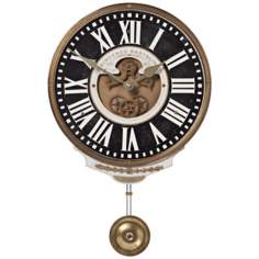 "Bartolini Black Pendulum 11"" Wide Round Wall Clock"