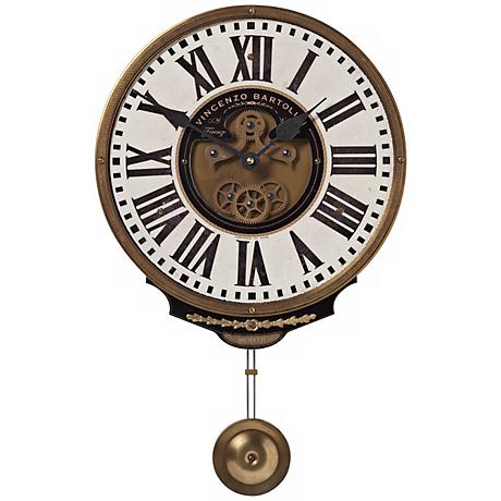 "Bartolini Cream Pendulum 11"" Wide Round Wall Clock"