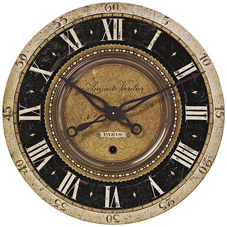 "Auguste Verdier Black Gold 27"" Wide Round Wall Clock"