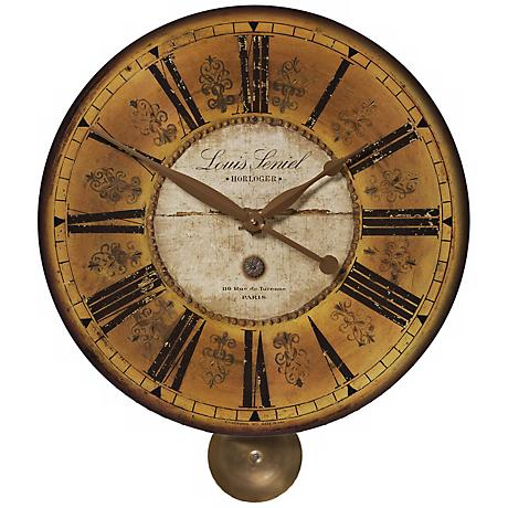 "Louis Leniel  Pendulum 20"" Wide Round Wall Clock"