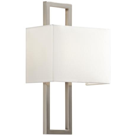 "Brushed Steel 15 1/2"" High Rectangular Wall Sconce"