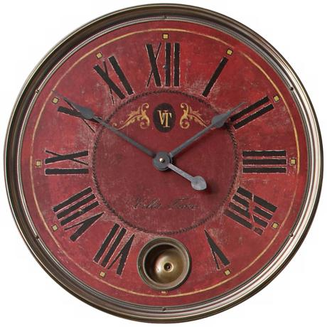 "Villa Tesio Regency Red 23"" Wide Round Wall Clock"