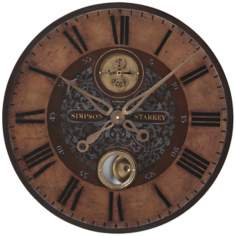 "Simpson Starkey Brown 23"" Wide Round Wall Clock"