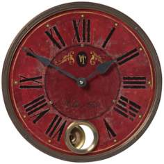 "Villa Tesio Red 11"" Wide Round Wall Clock"