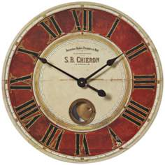 "S.B. Chieron Red Cream 23"" Wide Round Wall Clock"