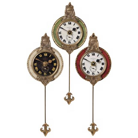 "Set of 3 Pendulum Monarch 4"" Wide Round Wall Clocks"