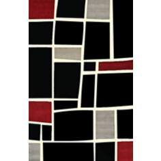 Retro Black Multi Squares Area Rug