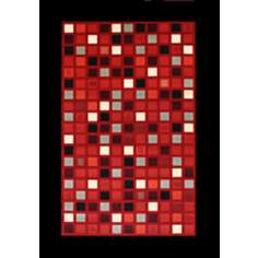 Mini Retro Red Multi Squares Area Rug