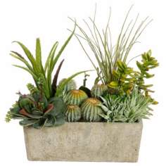 Succulent and Cactus Pearl Stone Pot Botanical Arrangement