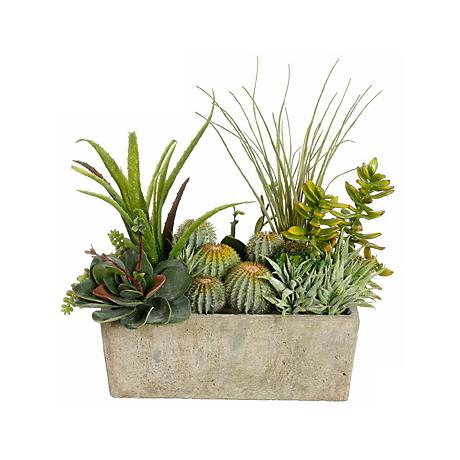 Faux Cactus and Succulent Arrangement in a Pearl Stone Pot