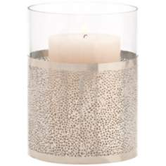 "Bombay 8"" High Polished Nickel Finish and Glass Vase"