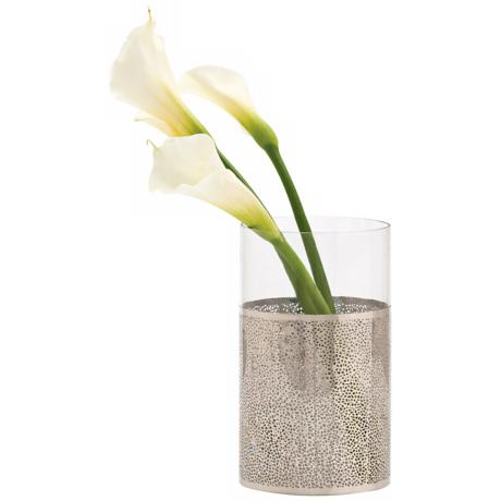 "Bombay 10"" High Polished Nickel Finish and Glass Vase"